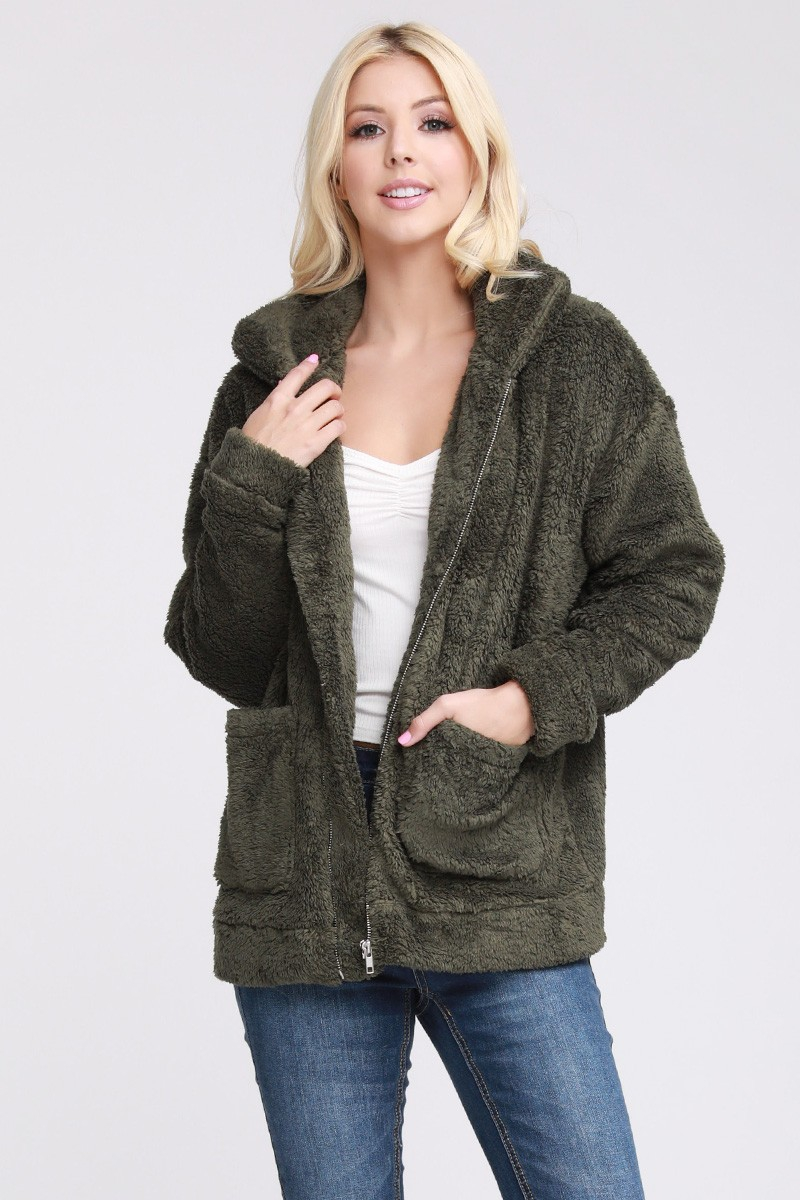 SOFT AND WARM SHERPA FUR JACKET WITH - orangeshine.com
