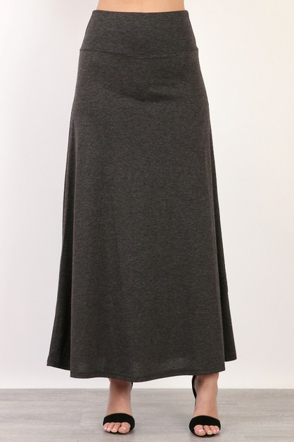 HIGH WAIST BAND MAXI SKIRT - orangeshine.com