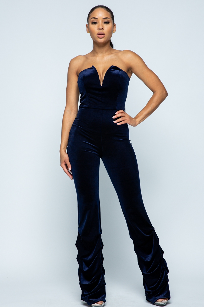 Velvet Jumpsuit with smocking stitch - orangeshine.com