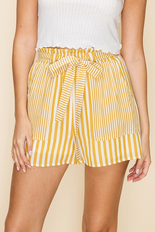 STRIPE PAPER BAG WAIST SHORTS - orangeshine.com