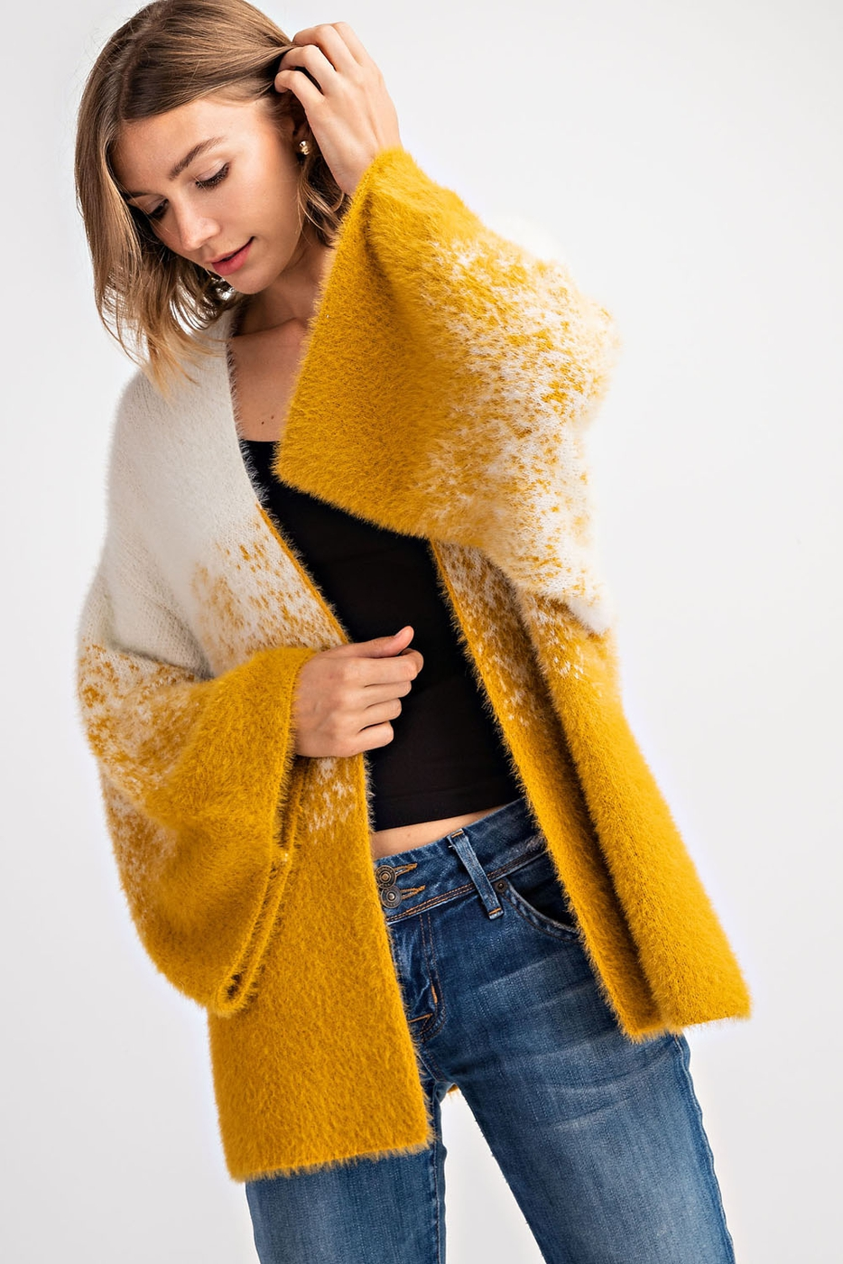 FUZZY OMBRE COLOR CARDIGAN SWEATER - orangeshine.com