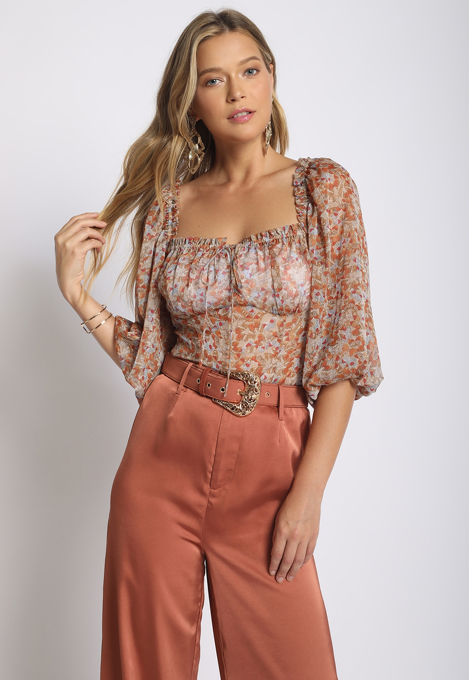 SHEER PUFF SLEEVE BLOUSE - orangeshine.com