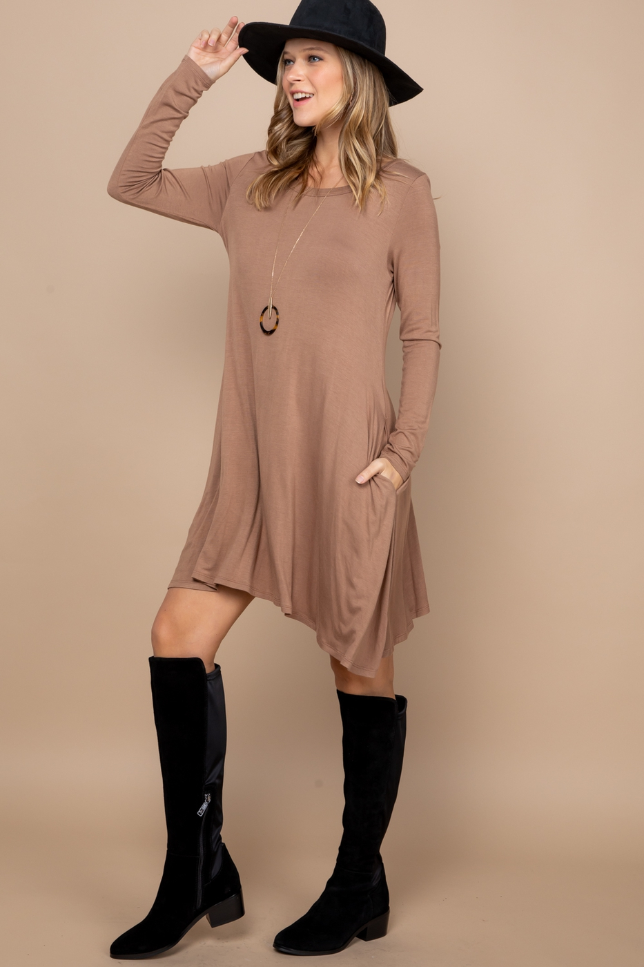 Solid Basic Long Sleeve Dress - orangeshine.com