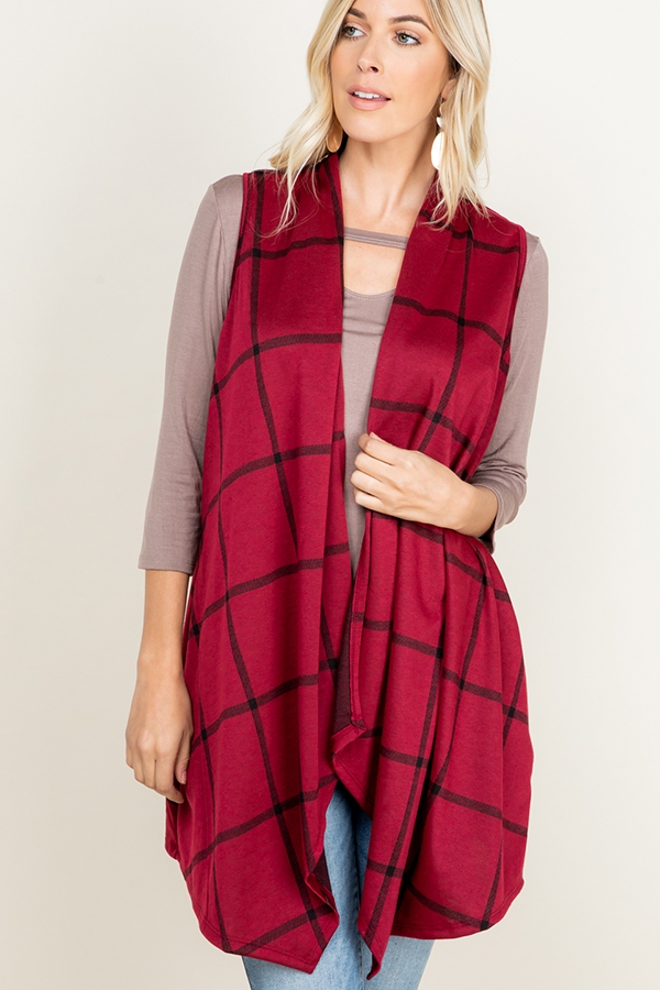 PLAID PRINT DRAPED VEST WITH SIDE PO - orangeshine.com