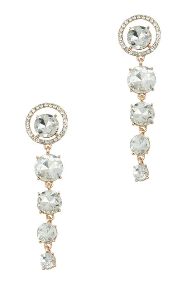 Round Crystal Drop Party Earring - orangeshine.com