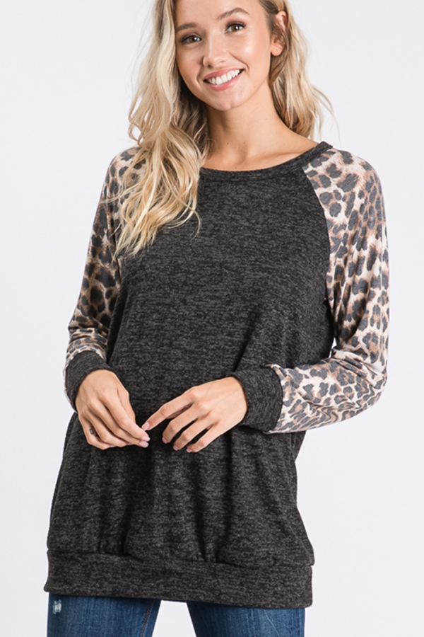 SOLID AND ANIMAL PRINT CONTRAST TOP - orangeshine.com