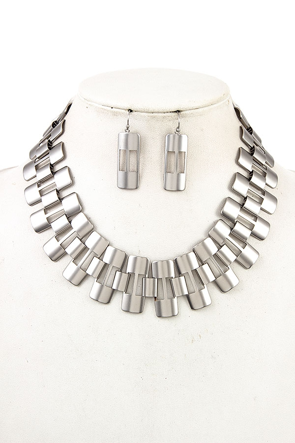 METAL LINK COLLAR NECKLACE SET - orangeshine.com