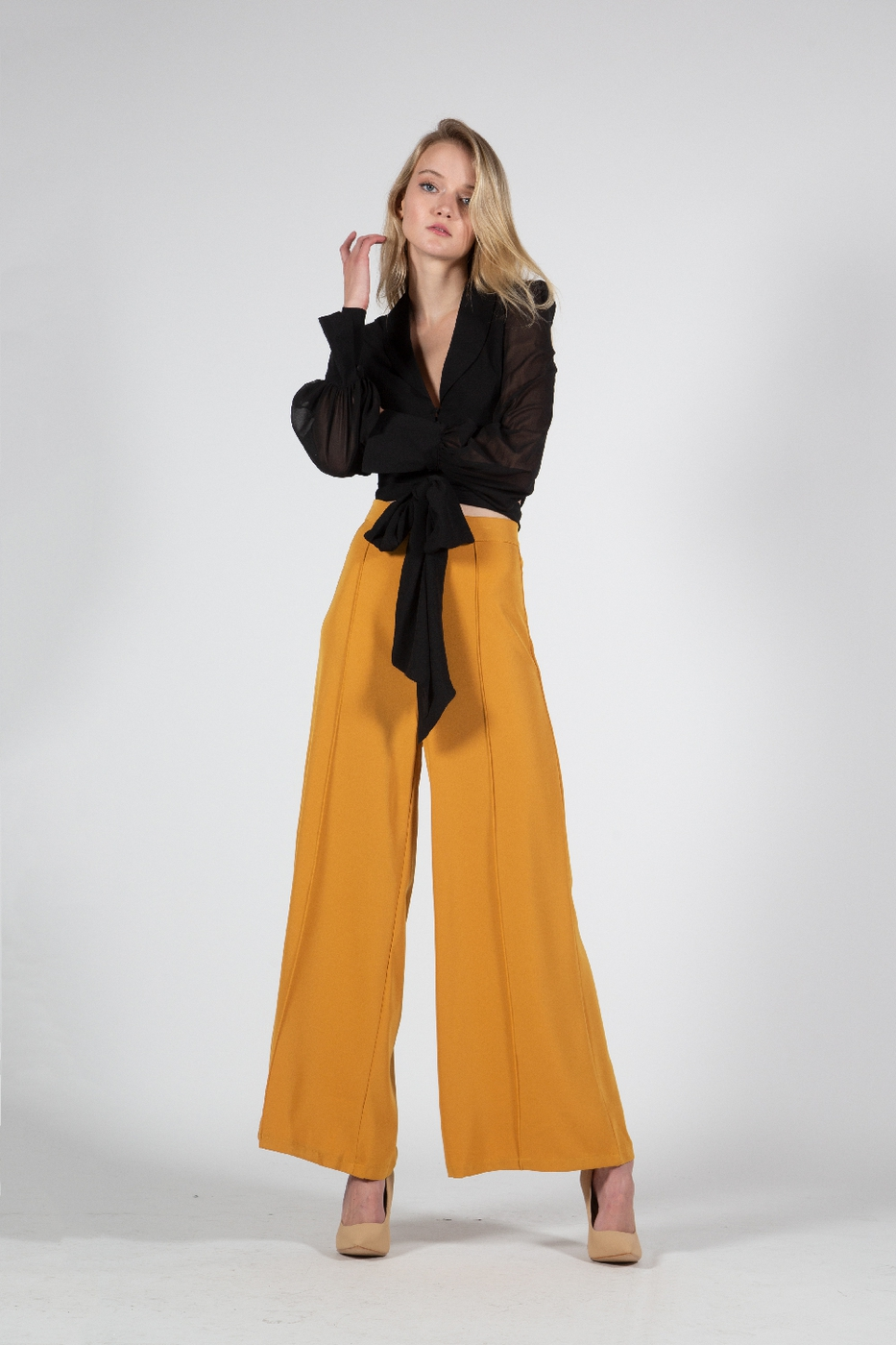 Flared Trousers with Front Seam - orangeshine.com