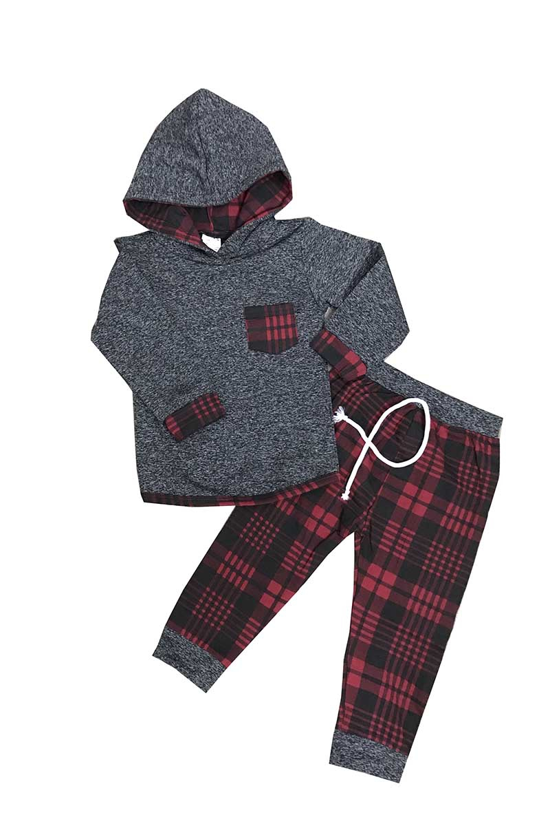 Grey red plaid hoodie pants set - orangeshine.com