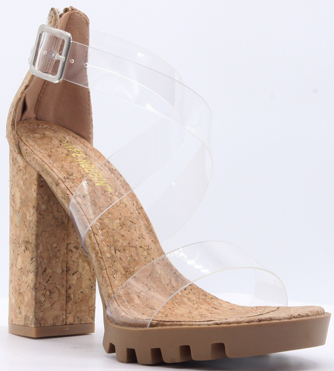 CRISS CROSS CLEAR HEELED SANDALS - orangeshine.com