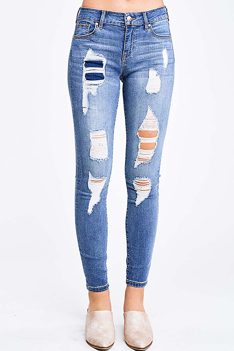 DISTRESSED PATCHED SKINNY JEANS - orangeshine.com