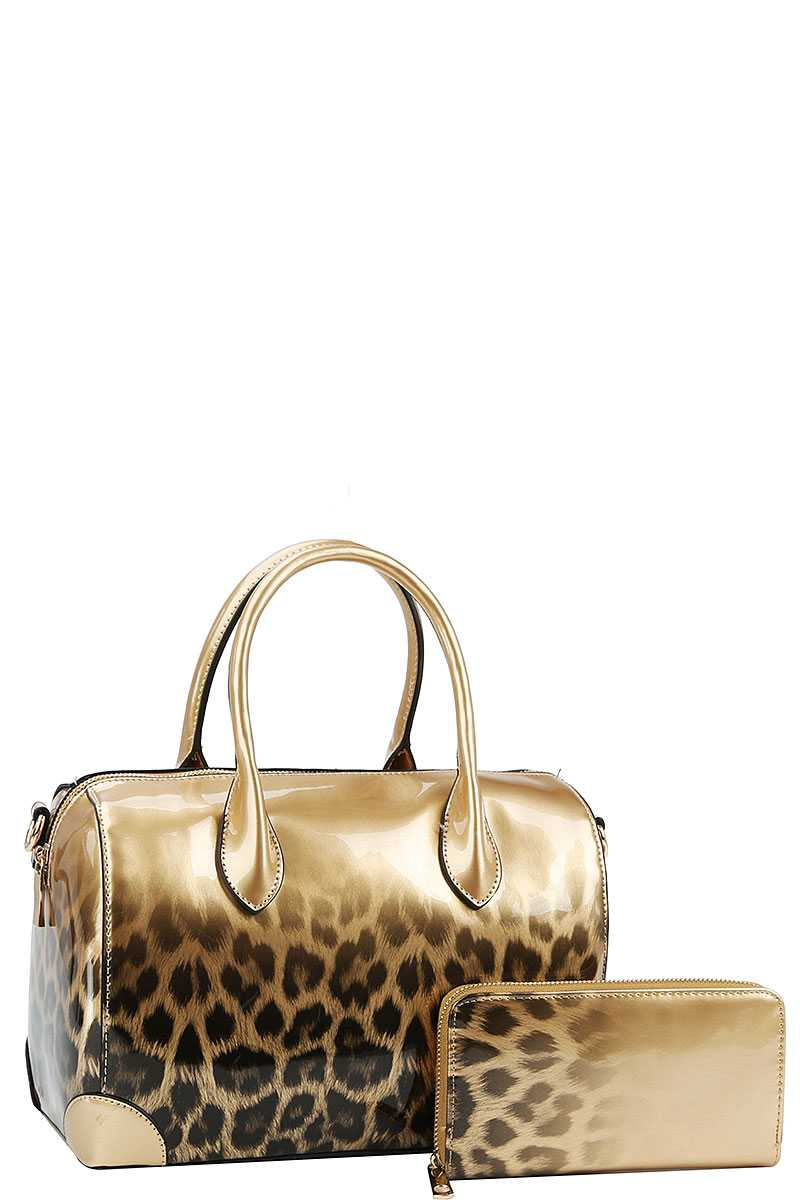 2 IN 1 GLOSSY LEO GRADIENT SATCHEL  - orangeshine.com