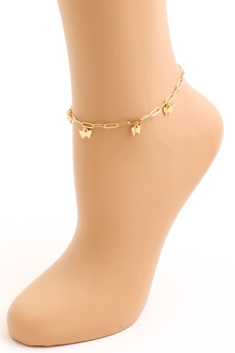Linked Chain Butterfly Anklet - orangeshine.com