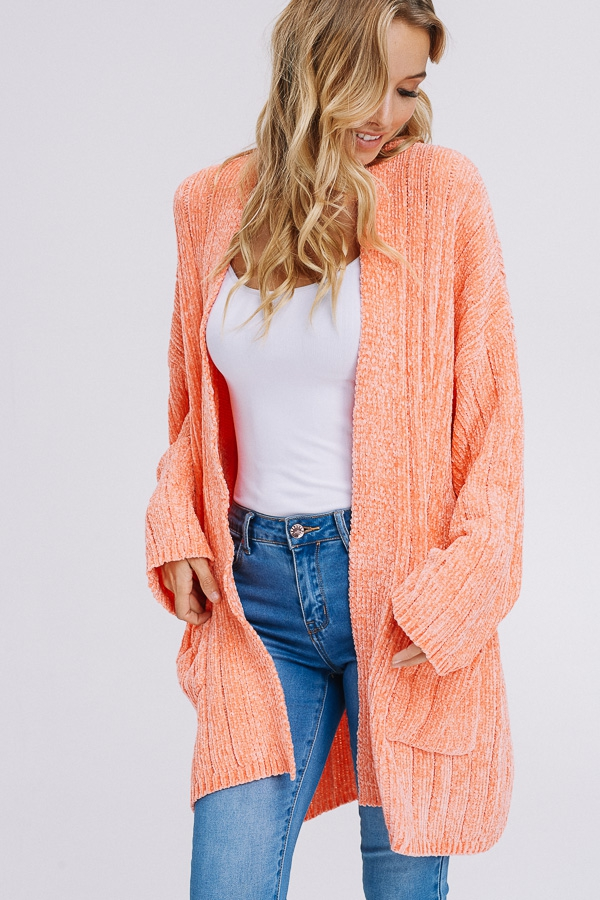 KNIT CARDIGAN WITH SIDE POCKETS IN S - orangeshine.com