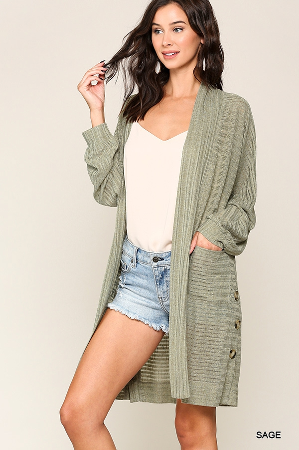 Dolman Sleeve Long Knit Cardigan - orangeshine.com