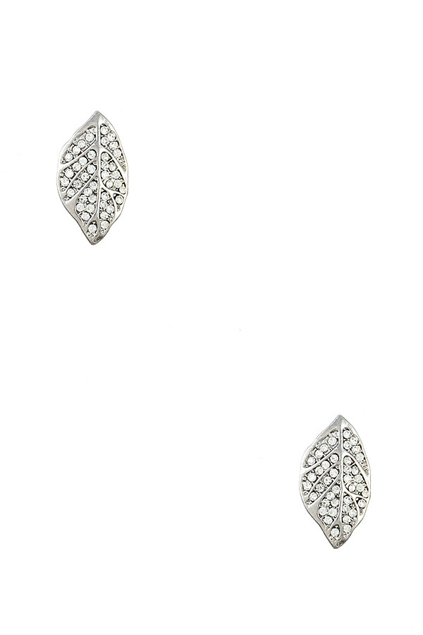 RHINESTONE PAVE LEAF POST EARRING - orangeshine.com