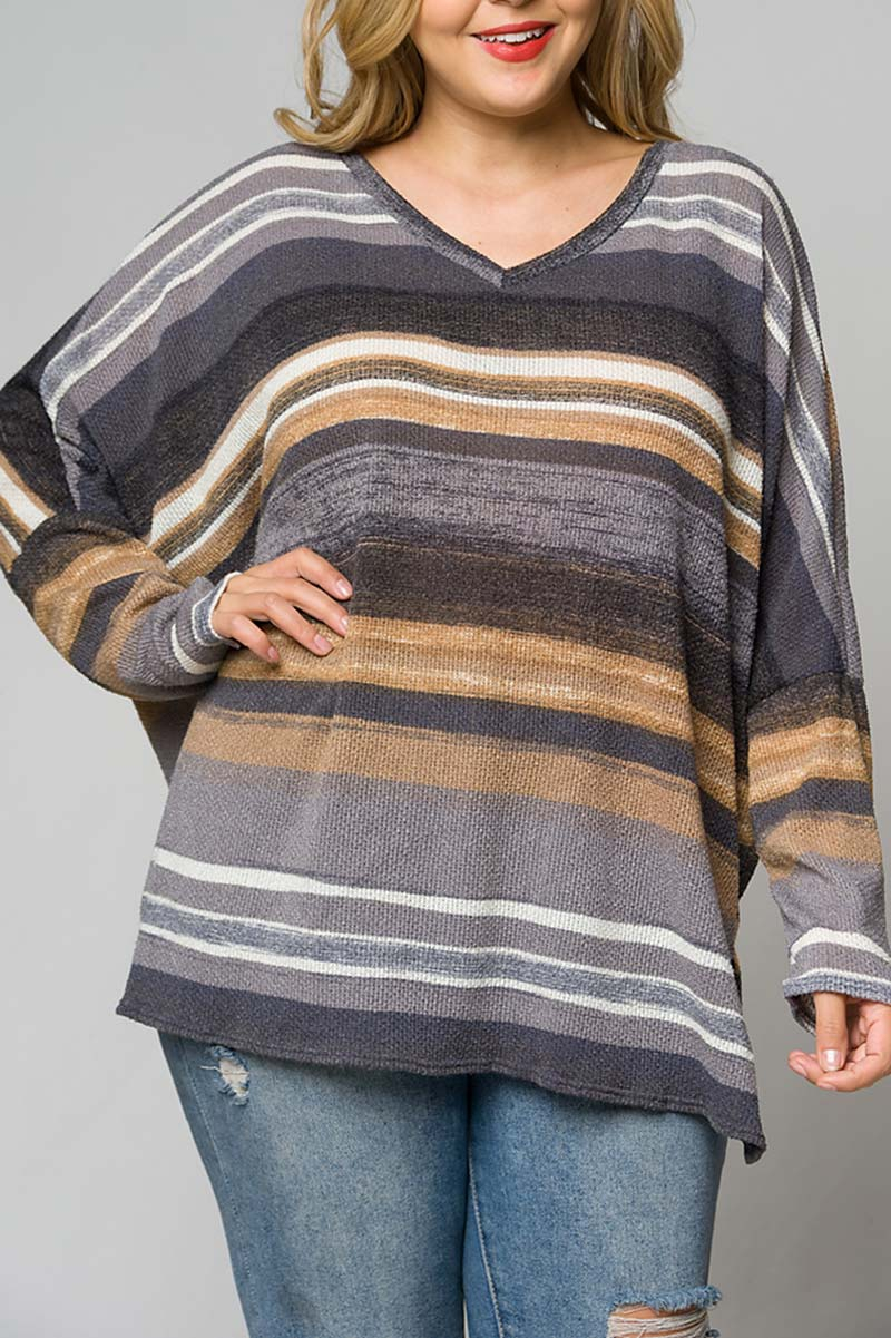 WAFFLE KNIT PLUS SIZE TUNIC TOP - orangeshine.com