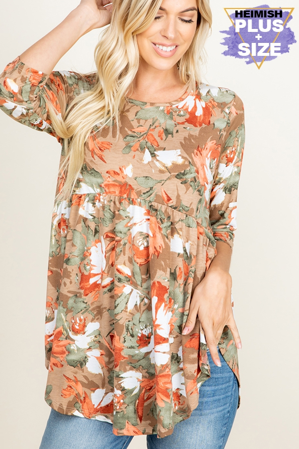 PLUS BABYDOLL FLORAL PRINT TOP - orangeshine.com