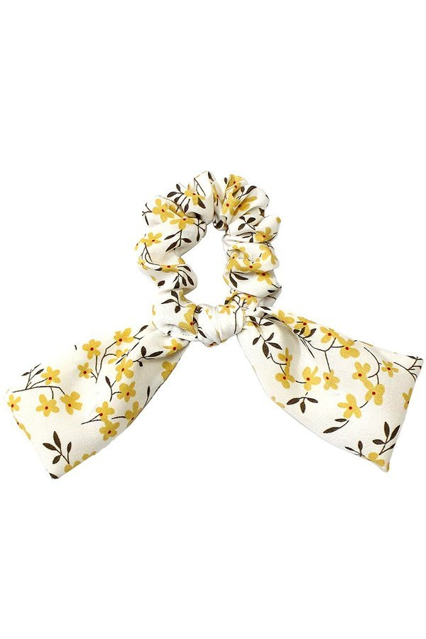 Floral print hair scrunchie with bow - orangeshine.com