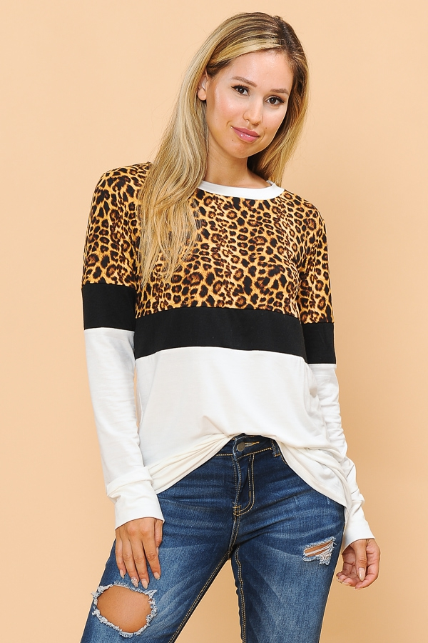 COLOR BLOCK LONG SLEEVE TOP - orangeshine.com