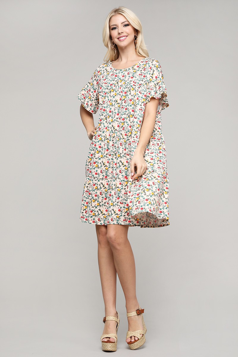 ROUND NECK FLORAL SHIRRING DRESS - orangeshine.com