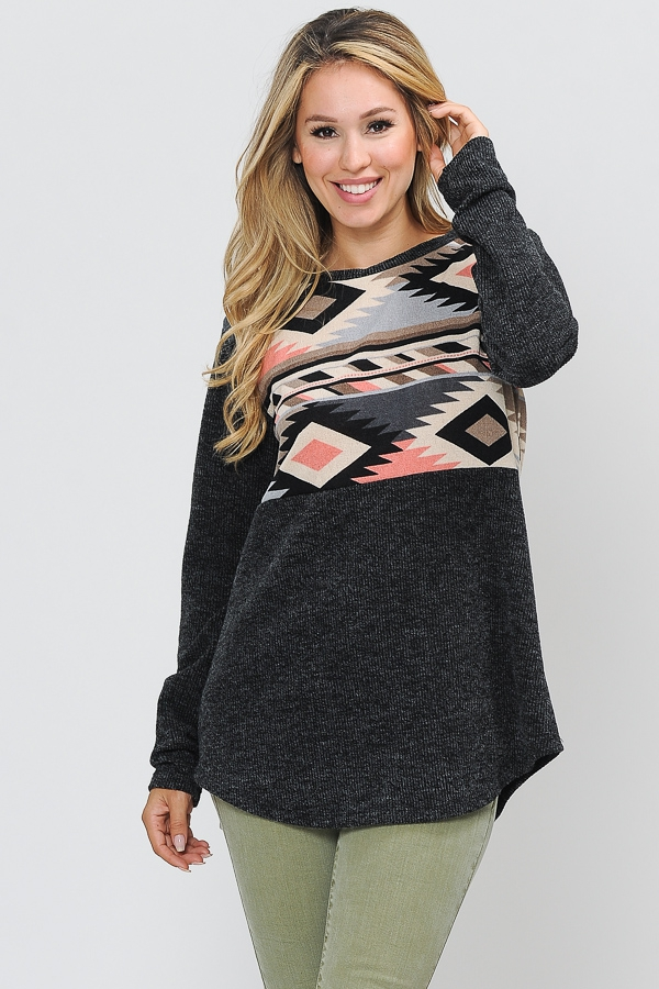 BRUSH COLOR BLOCK TOP WITH AZTEC - orangeshine.com