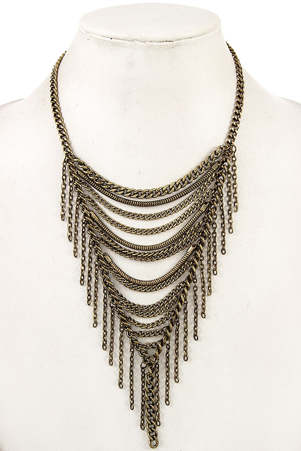 DRAPPED FRINGE CHAIN BIB NECKLACE   - orangeshine.com