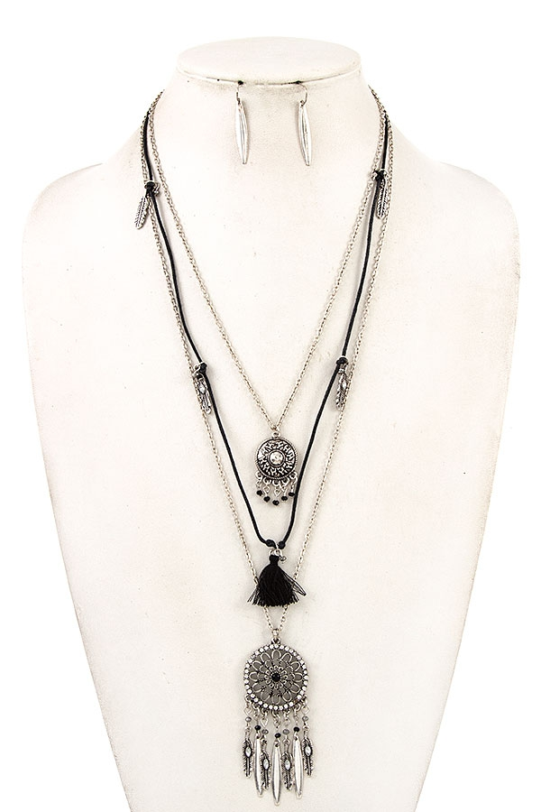 DREAM CATCHER LAYERED NECKLACE SET - orangeshine.com
