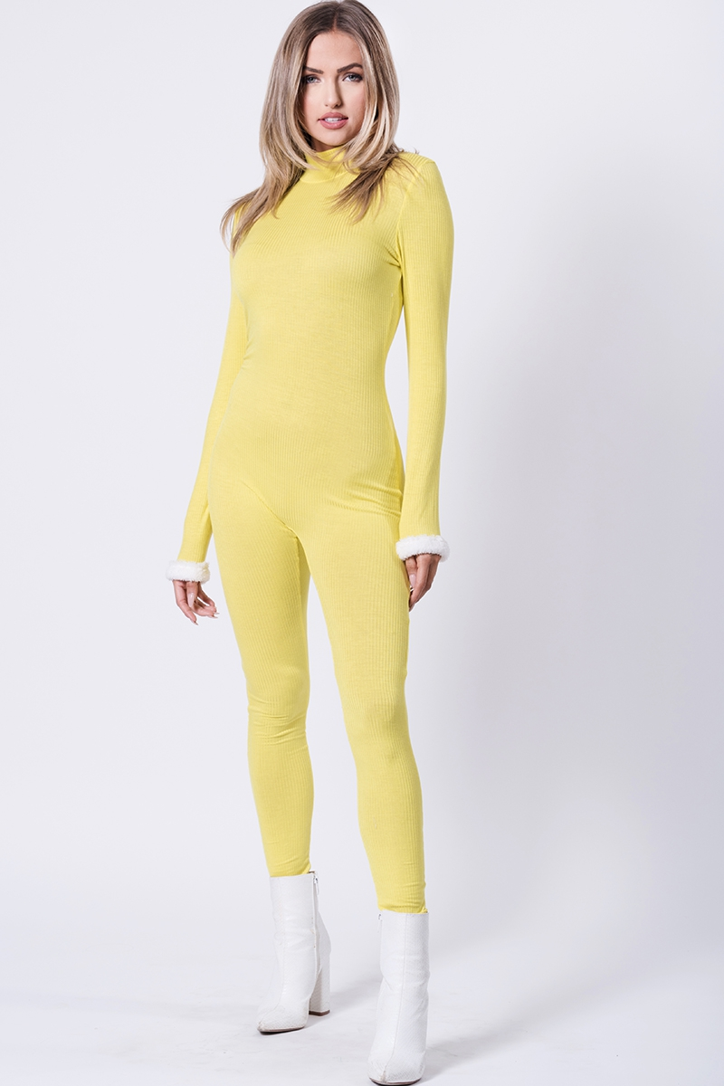 LS FUR CUFFED RIBBED JUMPSUIT  - orangeshine.com
