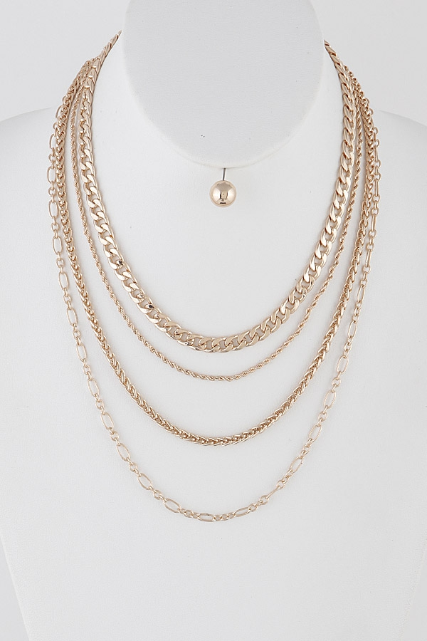 Layered Chain Necklace - orangeshine.com