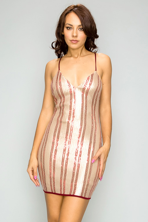STRIPE SEQUINS MINI DRESS - orangeshine.com