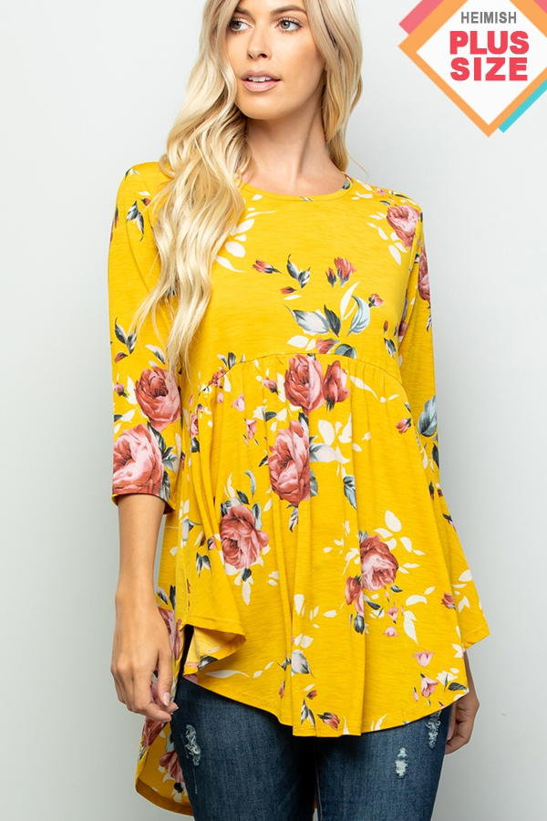 PLUS BABY DOLL FLORAL PRINT TOP - orangeshine.com