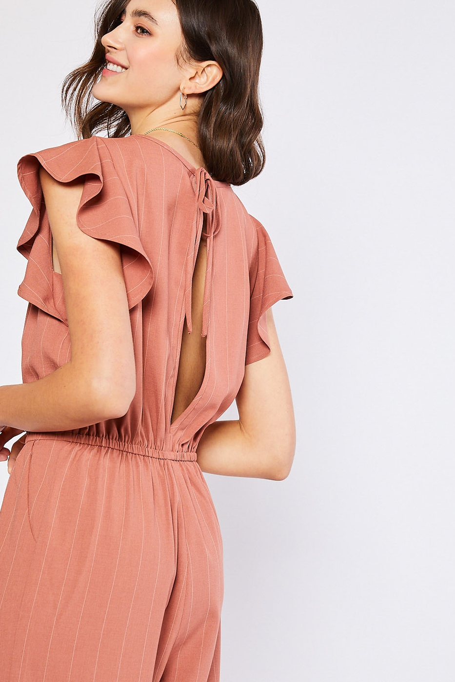 Wide Leg Jumpsuit with Ruffled Sleev - orangeshine.com