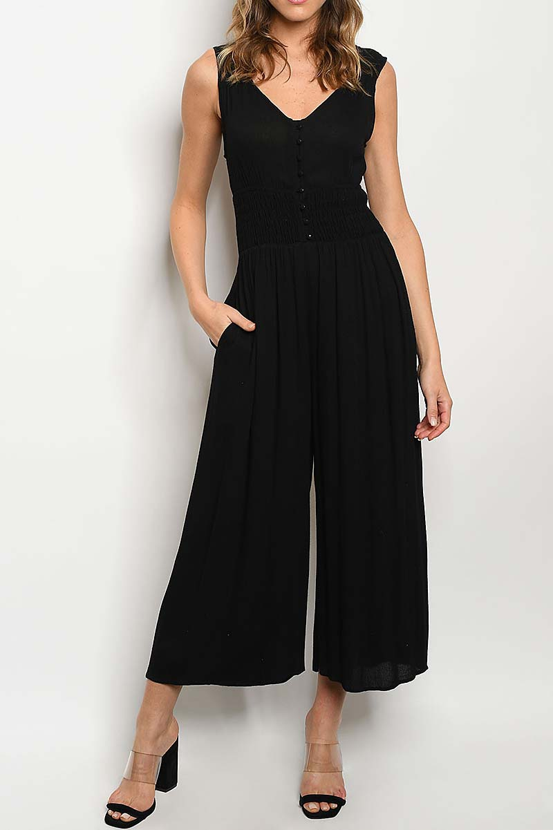 BACK CUTOUT WIDE LEG JUMPSUIT - orangeshine.com