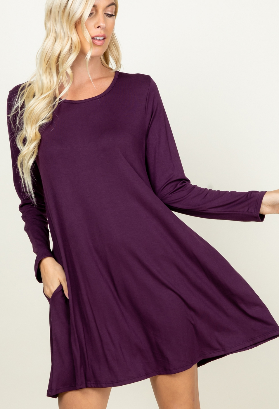 SOLID DRESS WITH SIDE POCKET - orangeshine.com