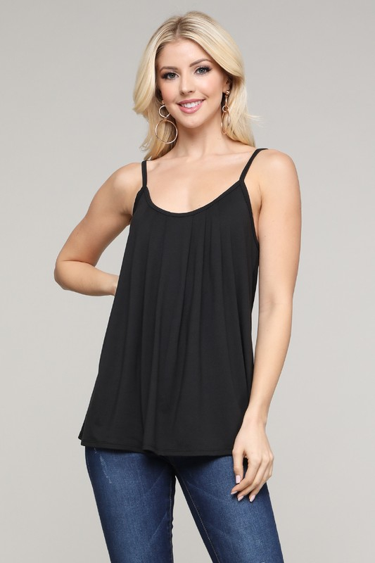 PLEATED FRONT DETAIL TANK TOP - orangeshine.com