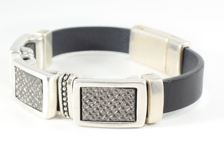 Leather Bracelet with Silver Beading - orangeshine.com