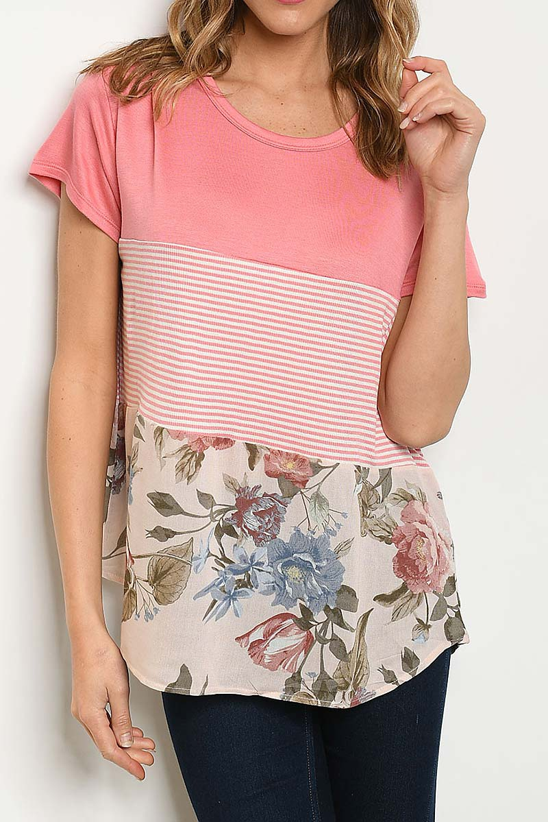 STRIPE AND FLORAL COLOR BLOCK TOP  - orangeshine.com