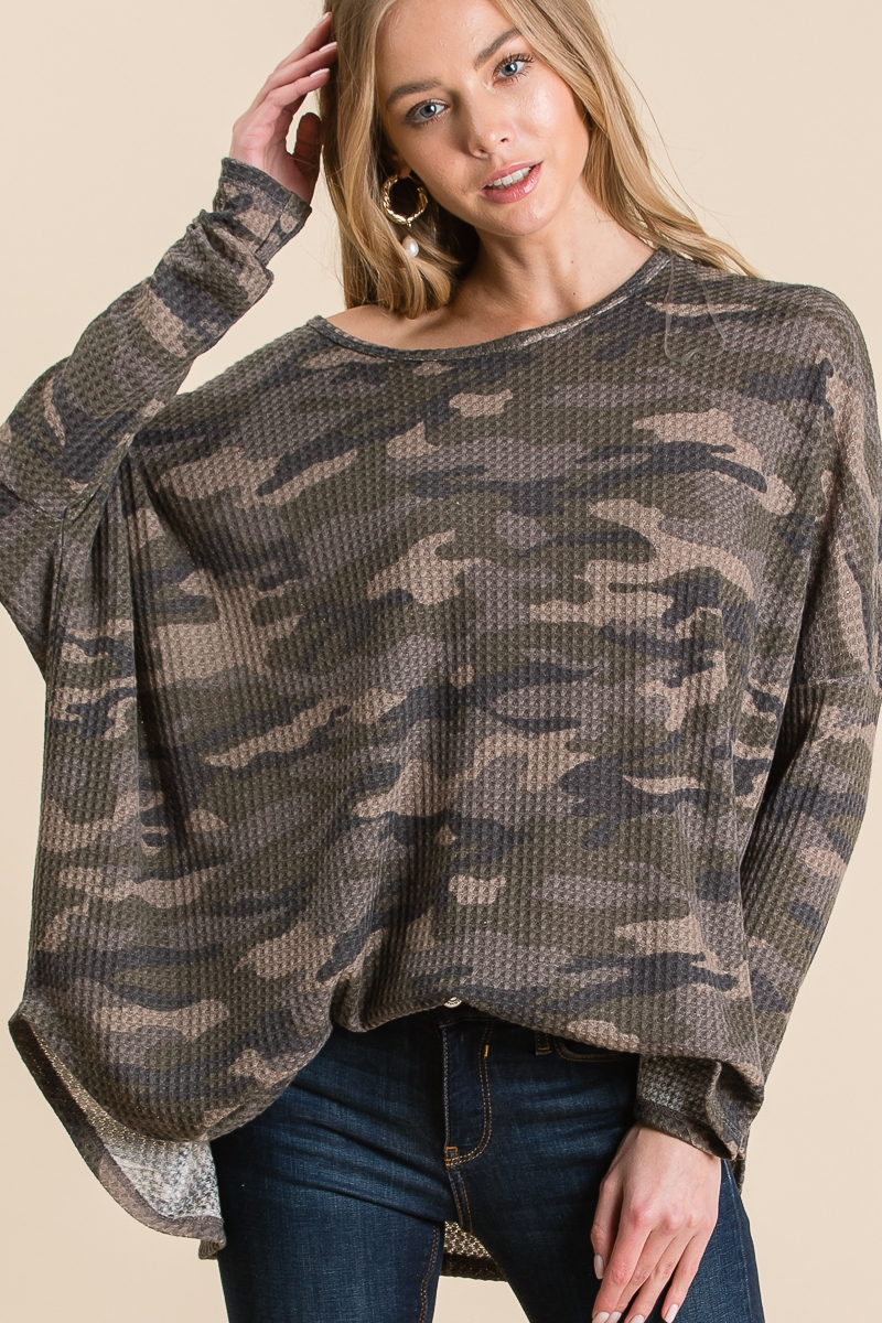 CAMO DOLMAN LONG SLEEVE TOP - orangeshine.com