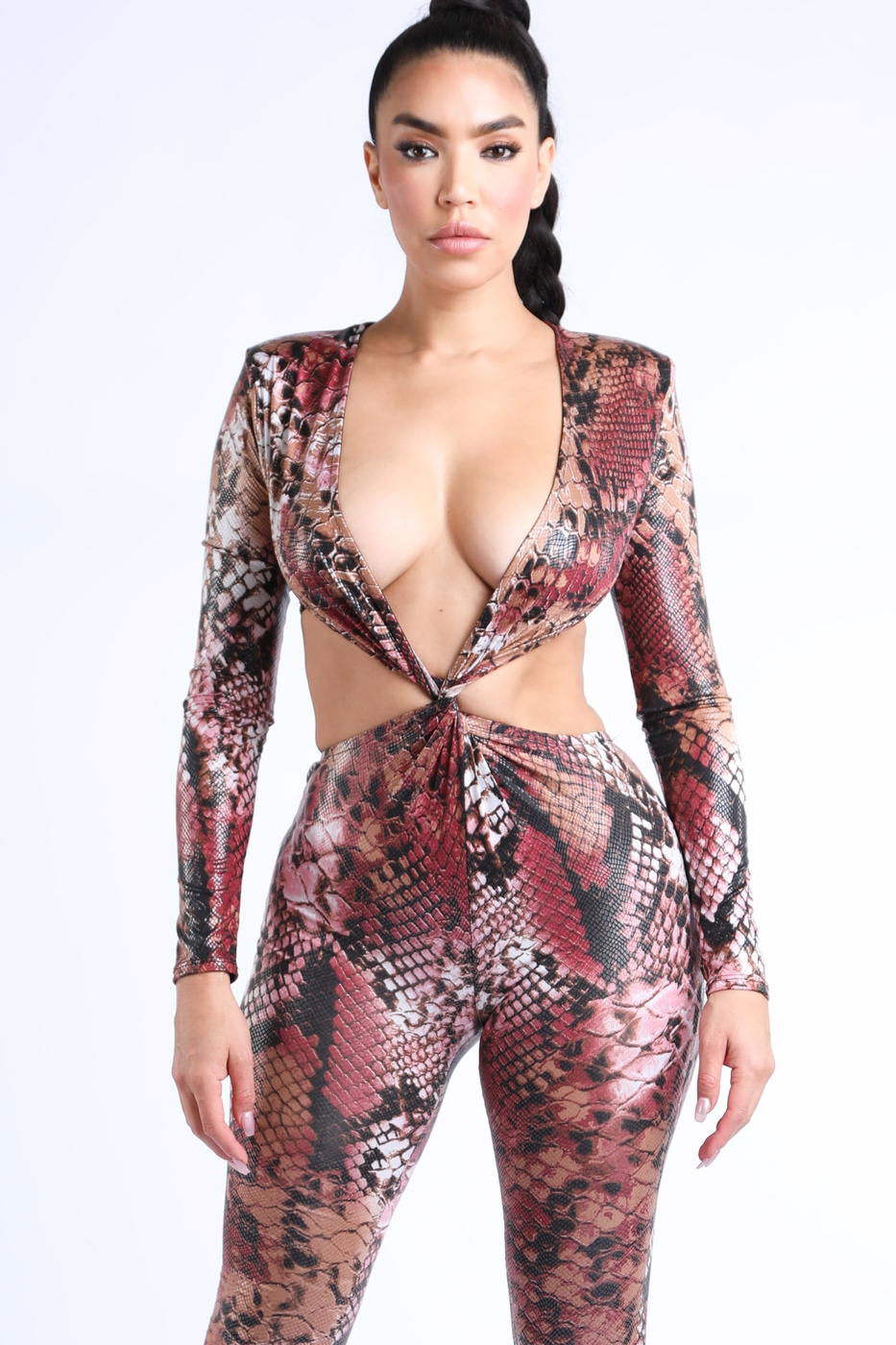 Snake skin Long Sleeve Jumpsuit - orangeshine.com