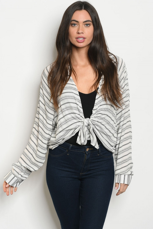 WHITE BLACK STRIPES TOP - orangeshine.com