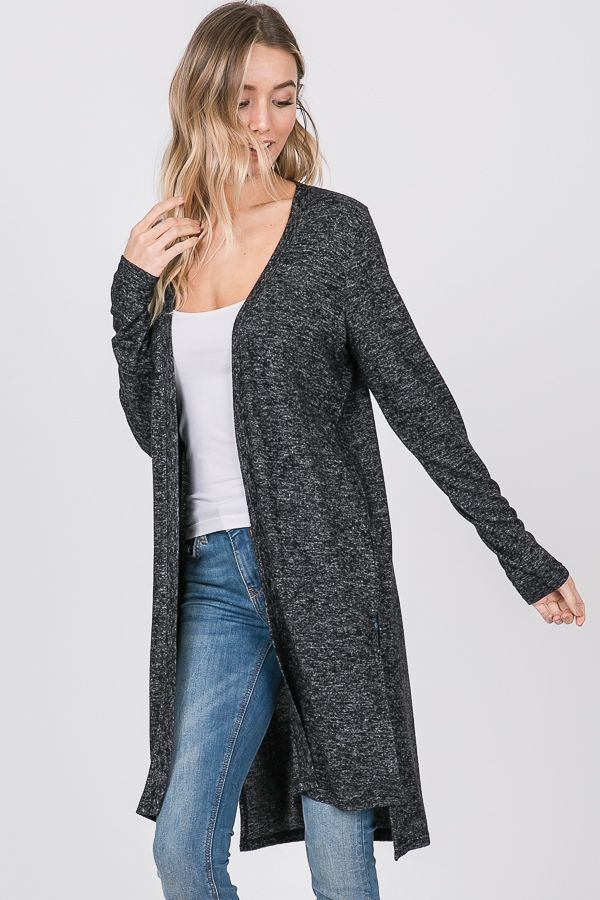SOLID KIMONO CARDIGAN WITH SIDE SLIT - orangeshine.com