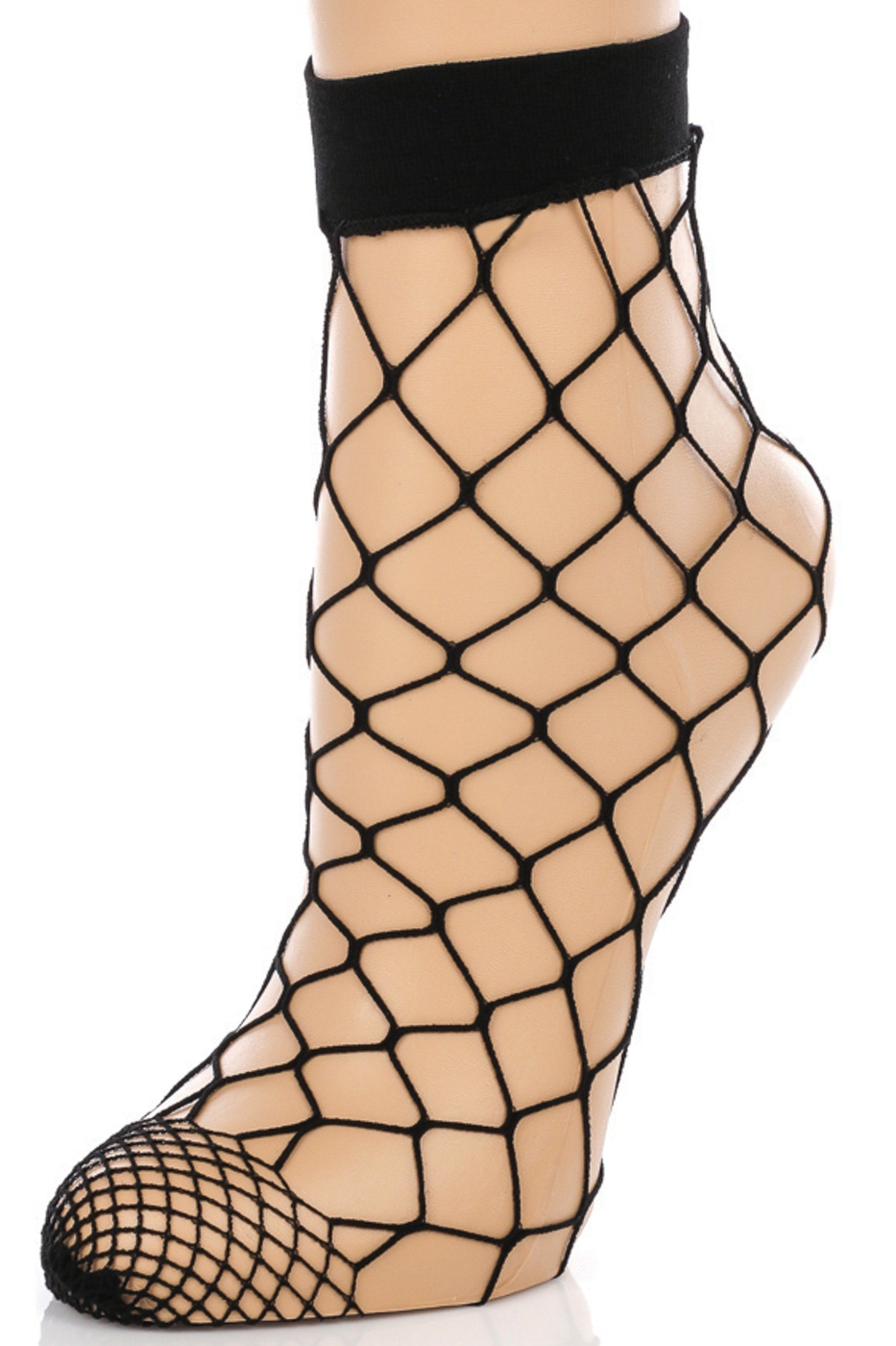 Wide Fishnet Ankle High Socks - orangeshine.com