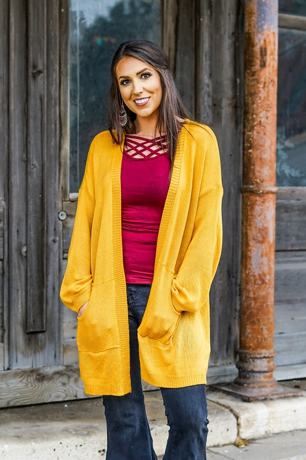 SOLID LIGHTWEIGHT CARDIGAN - orangeshine.com