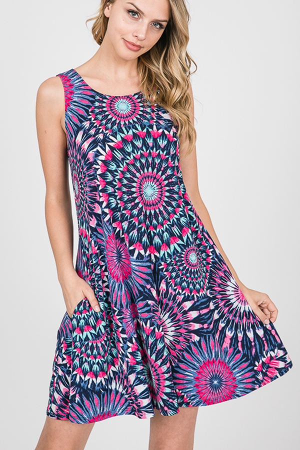 MULTI PRINT DRESS WITH SIDE POCKET - orangeshine.com