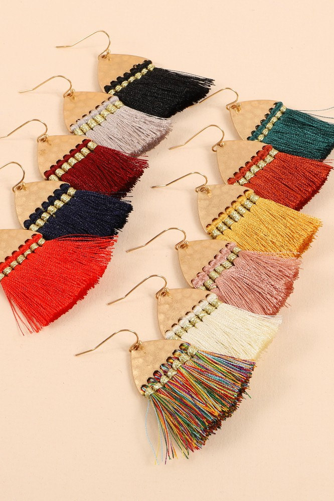 Hammered Tassels Dangling Earrings - orangeshine.com