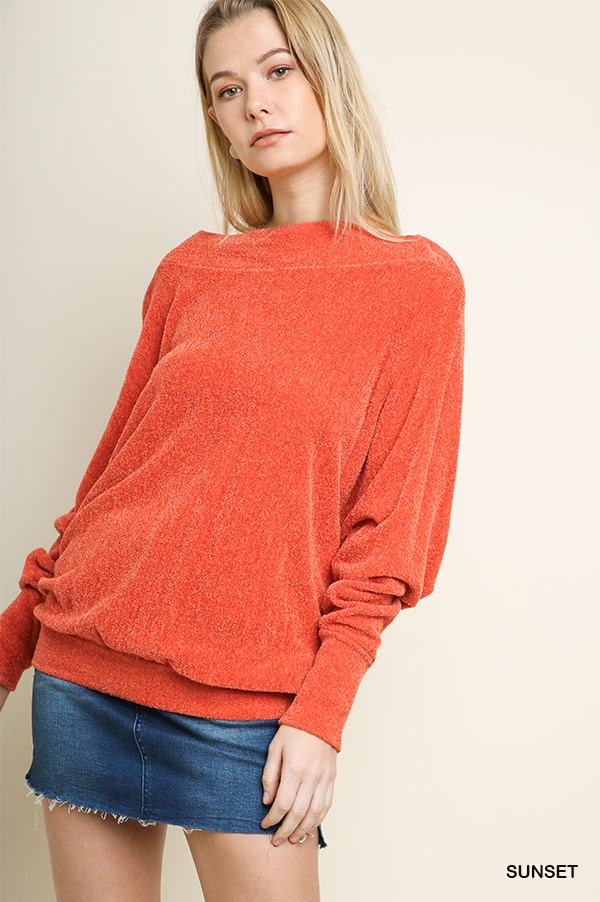 Dolman Terry Off Shoulder Pullover - orangeshine.com