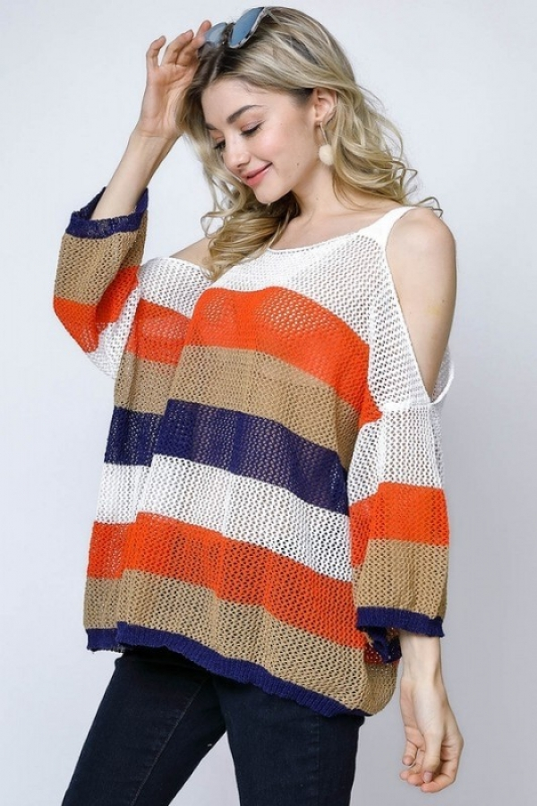 COLORBLOCK STRIPE FISHNET SHEER KNIT - orangeshine.com