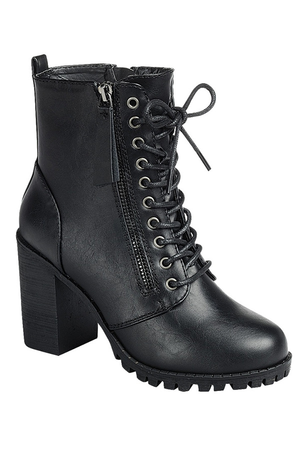PU HIGH HEEL ANKLE BOOTIE WITH LACE  - orangeshine.com