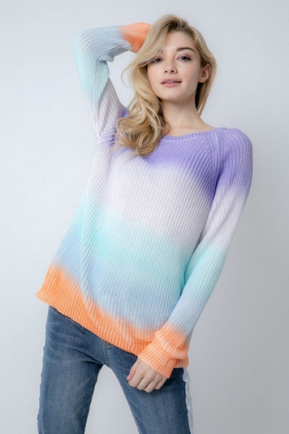 COLOR BLOCK LONG SLEEVE SWEATER - orangeshine.com